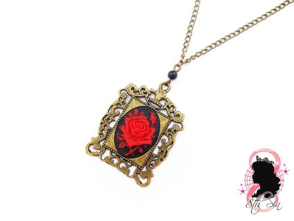 Antique Bronze and Red Rose Necklace